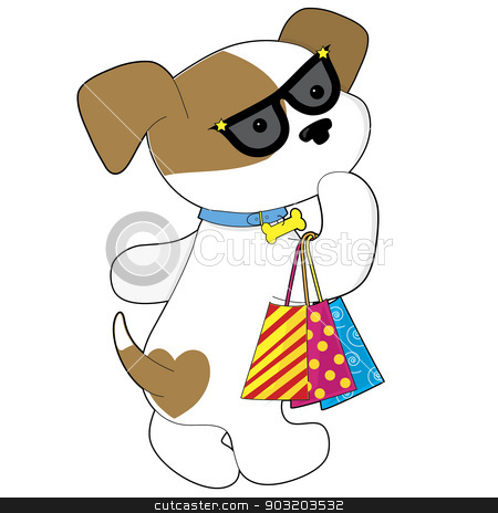 Cute Puppy Shopping stock vector clipart, A cute brown and white female dog wearing sunglasses and carrying three shopping bags by Maria Bell