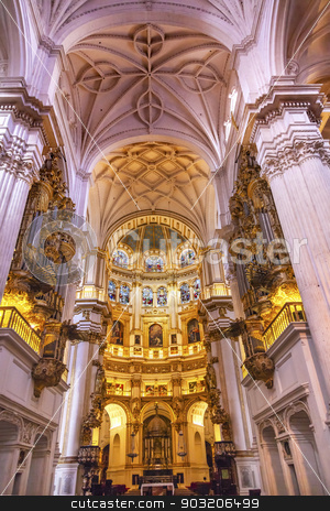 Basilica Stone Columns Stained Glass Cathedral Andalusia Granada stock photo, Basilica Stone Columns Stained Glass Cathedral Andalusia Granada Spain.  Built in the 1500s, housing the tombs of King Ferdinand and Isabella.  Dome by Diego de Siloe, 16th Century Stained Glass by Juan del Campo. by William Perry