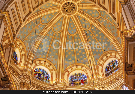 Basilica Dome Stained Glass Cathedral Andalusia Granada Spain stock photo, Basilica Dome Stained Glass Cathedral Andalusia Granada Spain.  Built in the 1500s, housing the tombs of King Ferdinand and Isabella.  Dome by Diego de Siloe, 16th Century Stained Glass by Juan del Campo. by William Perry