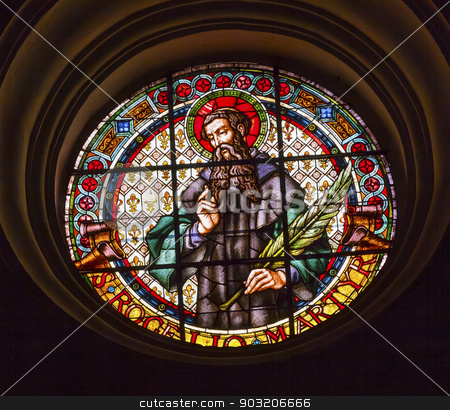 Catholic Martyr Stained Glass Basilica Cathedral Andalusia Grana stock photo, Catholic Martyr Stained Glass Basilica Cathedral Andalusia Granada Spain.     by William Perry