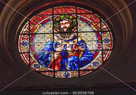 Saint Gregory Stained Glass Basilica Cathedral Andalusia Granada stock photo, Saint Gregory Stained Glass Basilica Cathedral Andalusia Granada Spain.  Saint Gregory was a pope in Catholic Church in the 500-600AD.  He is the patron saint of teachers.   by William Perry