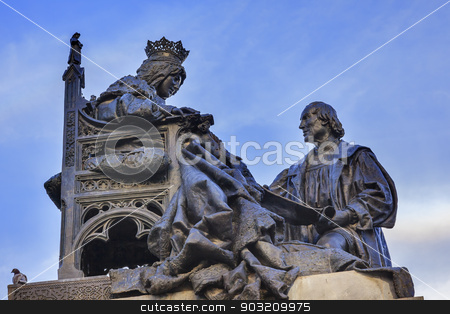 1492 Isabella with Colombus Statue Built 1892 Andalusia Granada  stock photo, 1492 Isabella Agreeing to Contract with Colombus Statue Andalusia Granada Spain.  Statue made in 1892 in Rome.   by William Perry