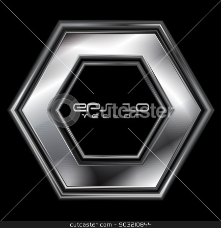 Abstract silver hexagon shape stock vector clipart, Abstract silver hexagon shape. Vector logo eps 10 by saicle