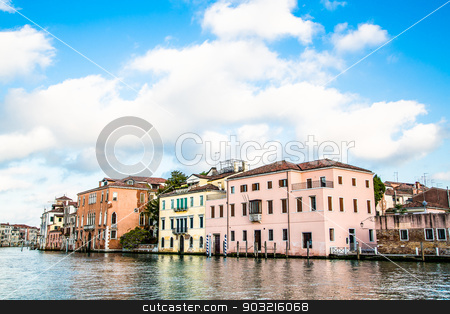 Old Plaster Buildings in Venice Canal stock photo, Old plaster buildings along a canal in Venice by Darryl Brooks