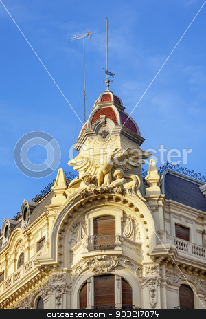 Ornate Spanish Building Statues Dome Granada Andalusia Spain stock photo, Old Ornate Spanish Building Statues Dome Granada Andalusia Spain  by William Perry