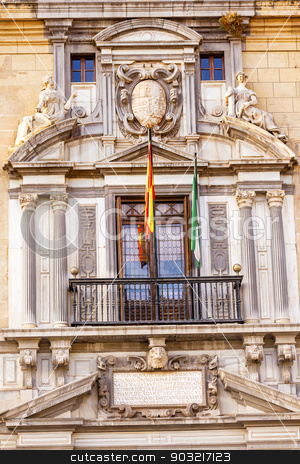 Ornate Spanish Government Building Window Crest Flags Granada An stock photo, Old Ornate Spanish Government Building Spanish Crest Statues Flags Granada Andalusia Spain  by William Perry