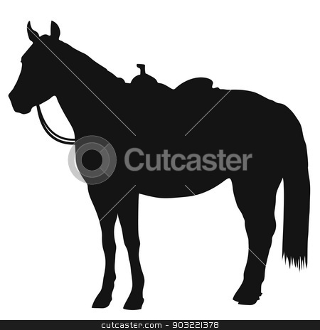 Western Horse Silhouette stock vector clipart, A black silhouette of a standing horse wearing a western saddle by Maria Bell