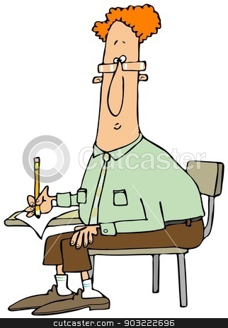 Man writing at a student desk stock photo, This illustration depicts a red-headed man writing with a pencil on a student desk. by Dennis Cox