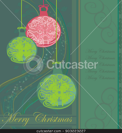 Elegant Christmas background with baubles card stock vector clipart, Elegant Christmas background with baubles card by Jacky Brown