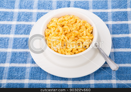 Bowl of Macaroni and Cheese with Red Pepper stock photo, A bowl of macaroni and cheese with cayenne or paprika pepper by Darryl Brooks