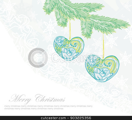Christmas background. Christmas branch and ball in form heart stock vector clipart, Christmas background. Christmas branch and ball in form heart by Jacky Brown