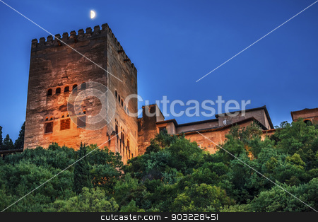 Alhambra Tower Moon from Walking Street Albaicin Granada Andalus stock photo, Alhambra Tower Moon from Walking Street Del Darro Albaicin Granada Andalusia Spain   by William Perry
