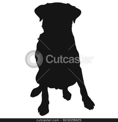 Labrador Retriever Silhouette stock vector clipart, A silhouette of a sitting Labrador Retriever which could also be a generic short haired dog by Maria Bell