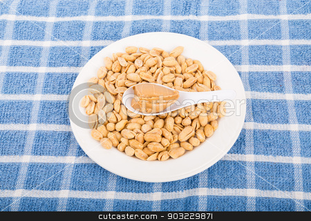 Spoon of Peanut Butter on Bowl of Peanuts stock photo, A white bowl of peanuts on a blue towel with a spoon of creamy peanut butter by Darryl Brooks