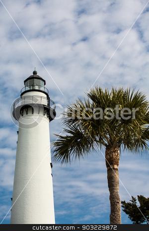 White Brick Lighthouse and Palm Tree stock photo, A white brick lighthouse with a palm tree under nice skies by Darryl Brooks