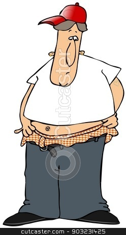 Gangster with low riding pants stock photo, This illustration depicts a gang-banger with low riding pants exposing his heart patterned underwear. by Dennis Cox