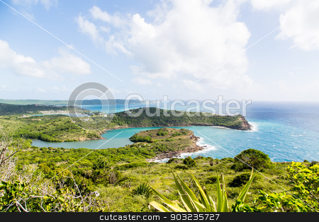Green Land and Blue Sea stock photo, Surf on horseshoe bay on the Caribbean island of Antigua by Darryl Brooks
