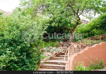 Curved Plaster Steps in Garden stock photo, A stone and adobe staircase through a natural landscaped garden by Darryl Brooks