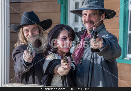 Old West Portrait stock photo, Portrait of old west citizens by Scott Griessel