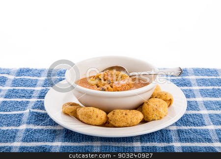 Tortilla Soup and Corn Chips stock photo, A bowl of chicken tortilla soup with corn chips by Darryl Brooks