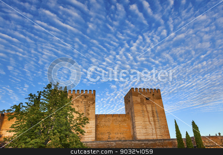 Alhambra Castle Walls Morning Sky Granada Cityscape Andalusia Sp stock photo, Alhambra Castle Walls Morning Sky Cityscape Granada Andalusia Spain   by William Perry