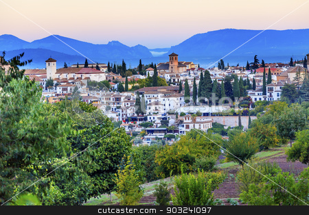 Granada Cityscape Churches Andalusia Spain from Oilve Gardens stock photo, Granada Cityscape Churches Andalusia Spain  from Olive Gardens on Hillside by William Perry