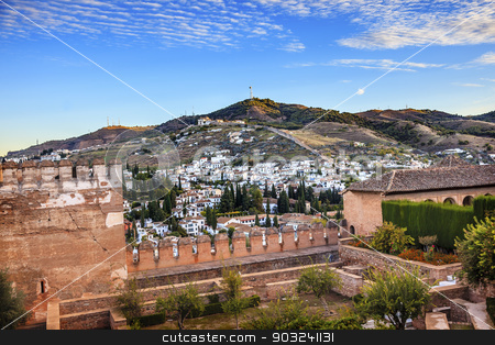 Alhambra Morning Sky Granada Cityscape Old Walls Churches Andalu stock photo, Alhambra Castle Morning Sky ityscape Walls Granada Churches Old Walls Andalusia Spain   by William Perry