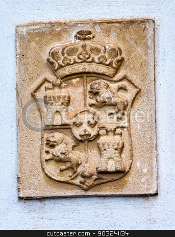 Alhambra Palace Royal Crest Granada Andalusia Spain stock photo, Alhambra Palace Stone Statue Spanish Royal Crest Moorish Patterns Granada Andalusia Spain. Alhambra is the last Moorish Moslem Palace that was conquered by King Ferdinand and Queen Isabella in 1492. by William Perry
