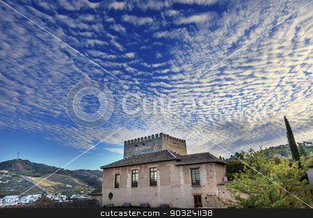 Alhambra Castle Morning Sky Granada Cityscape Andalusia Spain stock photo, Alhambra Castle Morning Sky ityscape Walls Granada Churches Andalusia Spain   by William Perry