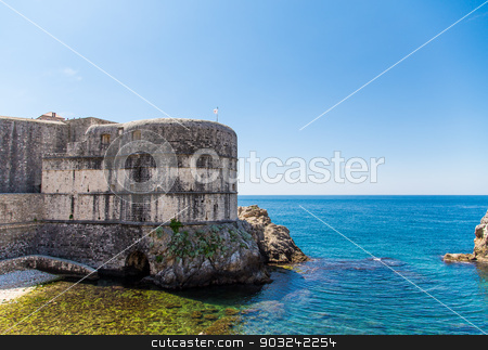 Old Walls of Dubrovnik Croatia on the Adriatic stock photo, Ancient walls around the old walled city of Dubrovnik, Croatia by Darryl Brooks