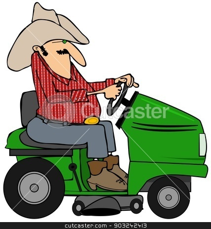 Cowboy on a riding lawnmower stock photo, This illustration depicts a cowboy operating a green riding lawnmower. by Dennis Cox
