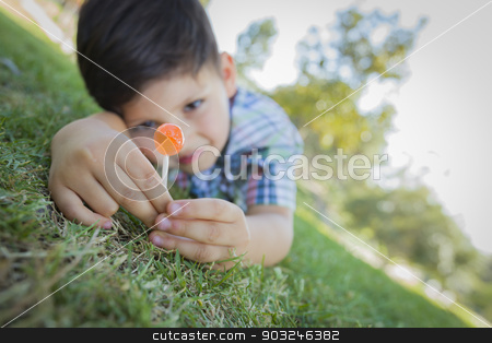 Young Boy Enjoying His Lollipop Outdoors Laying on Grass stock photo, Handsome Young Boy Enjoying His Lollipop Outdoors on the Grass. by Andy Dean