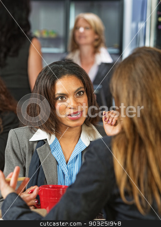 Business Women in Conversation stock photo, Pair of professional women talking at coffee house by Scott Griessel