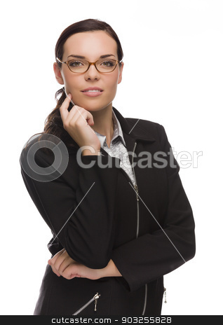 Professional Mixed Race Businesswoman Isolated on White stock photo, Young Mixed Race Businesswoman Isolated on White Background. by Andy Dean