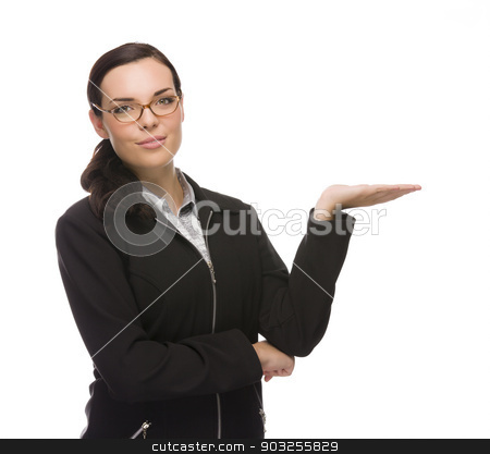 Confident Mixed Race Businesswoman Gesturing with Hand to the Si stock photo, Confident Young Mixed Race Businesswoman Gesturing with Hand to the Side Isolated on a White Background. by Andy Dean