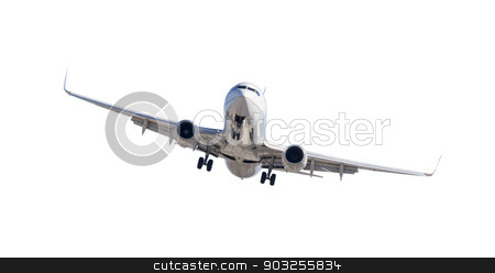 Jet Airplane Landing Isolated on White stock photo, Jet Airplane Landing Isolated on a White Background. by Andy Dean