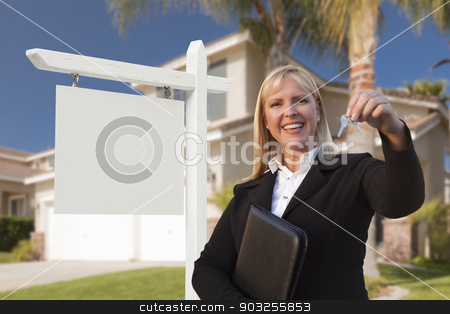 Blank Sign and Real Estate Agent Handing Over the Keys stock photo, Female Real Estate Agent Handing Over the House Keys in Front of a Beautiful New Home and Blank Real Estate Sign. by Andy Dean