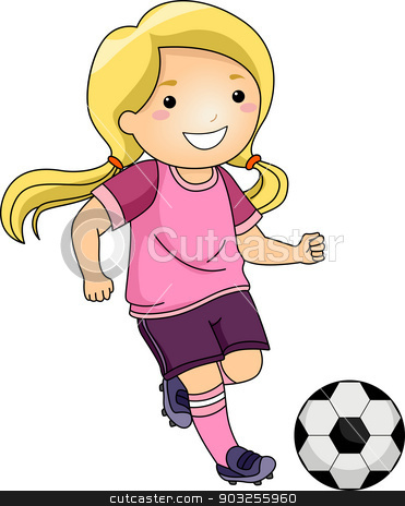 Soccer Girl stock vector clipart, Illustration of a Little Girl Kicking a Soccer Ball by BNP