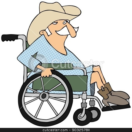 Cowboy in a wheelchair stock photo, This illustration depicts an old cowboy sitting in a wheelchair. by Dennis Cox
