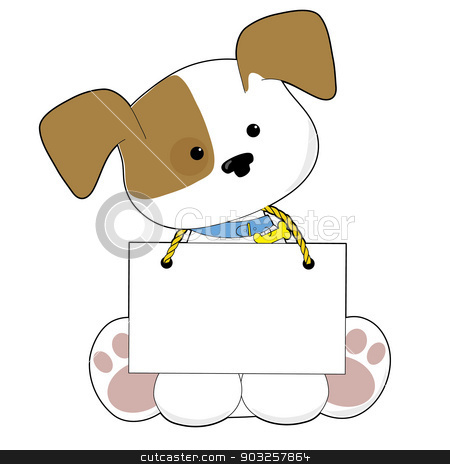 Cute Puppy Sign stock vector clipart, A sweet little puppy sitting with a blank sign around its neck. There is room to add your own text. by Maria Bell