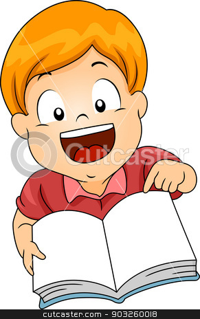 Kid Boy with Open Book stock vector clipart, Illustration of a Little ...