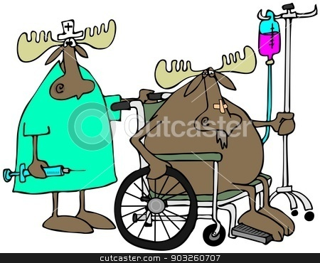 Moose patient & nurse stock photo, This illustration depicts a moose in a wheelchair with a nurse behind him holding a large syringe. by Dennis Cox