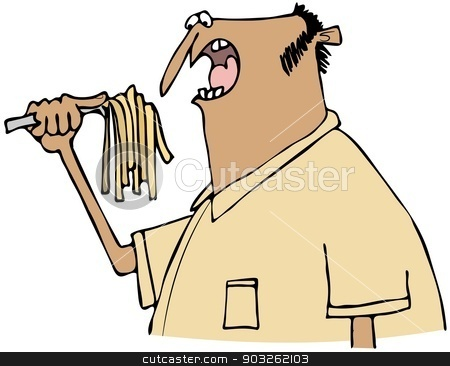 Man eating pasta stock photo, This illustration depicts an ethnic man eating pasta with a fork. by Dennis Cox