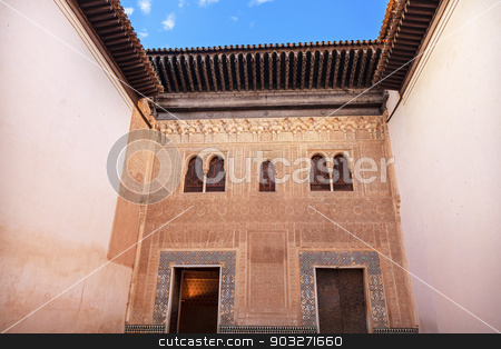 Alhambra Mexuar Courtyard Moorish Wall Designs Granada Andalusia stock photo, Alhambra Mexuar Courtyard Moorish Wall Windows Patterns Designs Granada Andalusia Spain   by William Perry