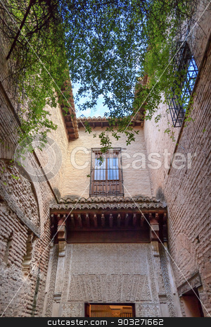 Alhambra Wall Courtyard Granada Andalusia Spain stock photo, Alhambra Courtyard Walls Windows Granada Andalusia Spain   by William Perry