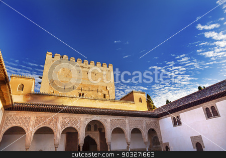 Alhambra Myrtle Courtyard Moorish Wall Designs Granada Andalusia stock photo, Alhambra Myrtle Courtyard Moorish Wall Windows Patterns Designs Granada Andalusia Spain   by William Perry