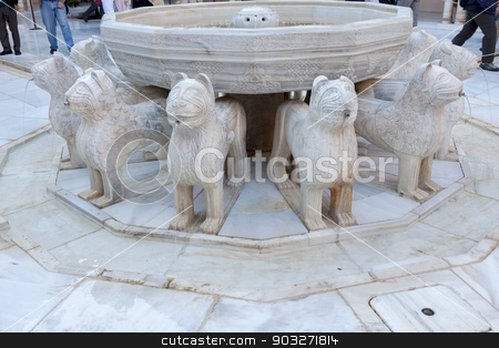 Alhambra Moorish Courtyard Lions Fountain Statue Granada Andalus stock photo, Alhambra Moorish Courtyard Lions Statue Fountain Patterns Designs Granada Andalusia Spain   by William Perry
