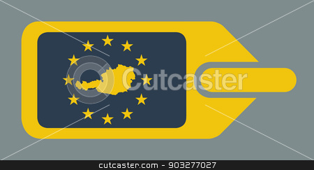Austria European luggage label stock photo, Austria European travel luggage label or tag in flat web design colors. by Martin Crowdy