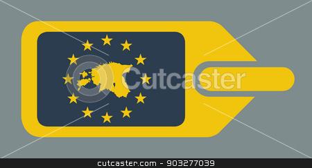Estonia European luggage label stock photo, Estonia European travel luggage label or tag in flat web design colors. by Martin Crowdy