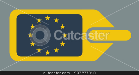 European luggage label stock photo, Blank European travel luggage label or tag in flat web design colors. by Martin Crowdy
